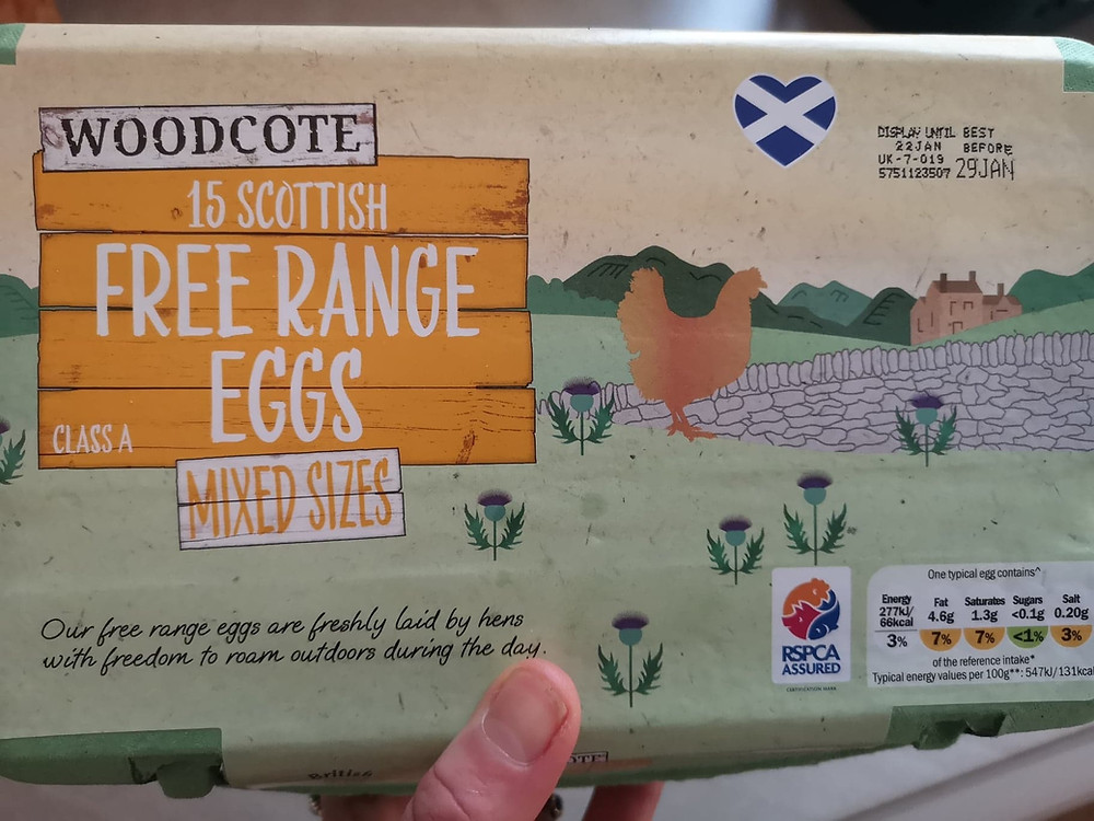 Box of 15 eggs displaying use by date