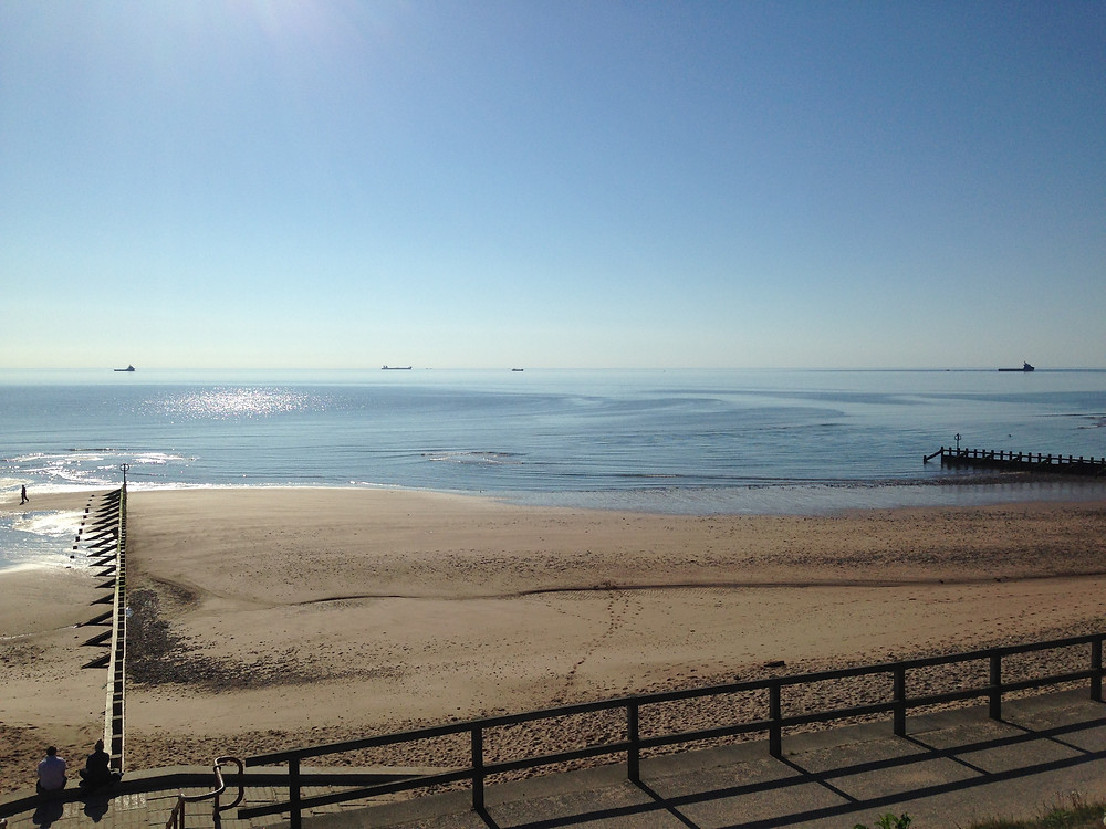 Aberdeen beach on a beautiful sunny day in the North East of Scotland