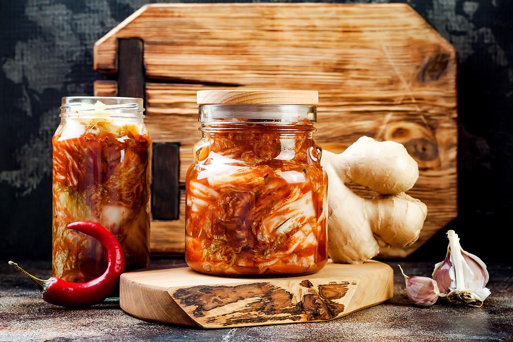 Fermented vegetable product kimchi made with cabbage, chilli, garlic, ginger, radish, mooli, daikon