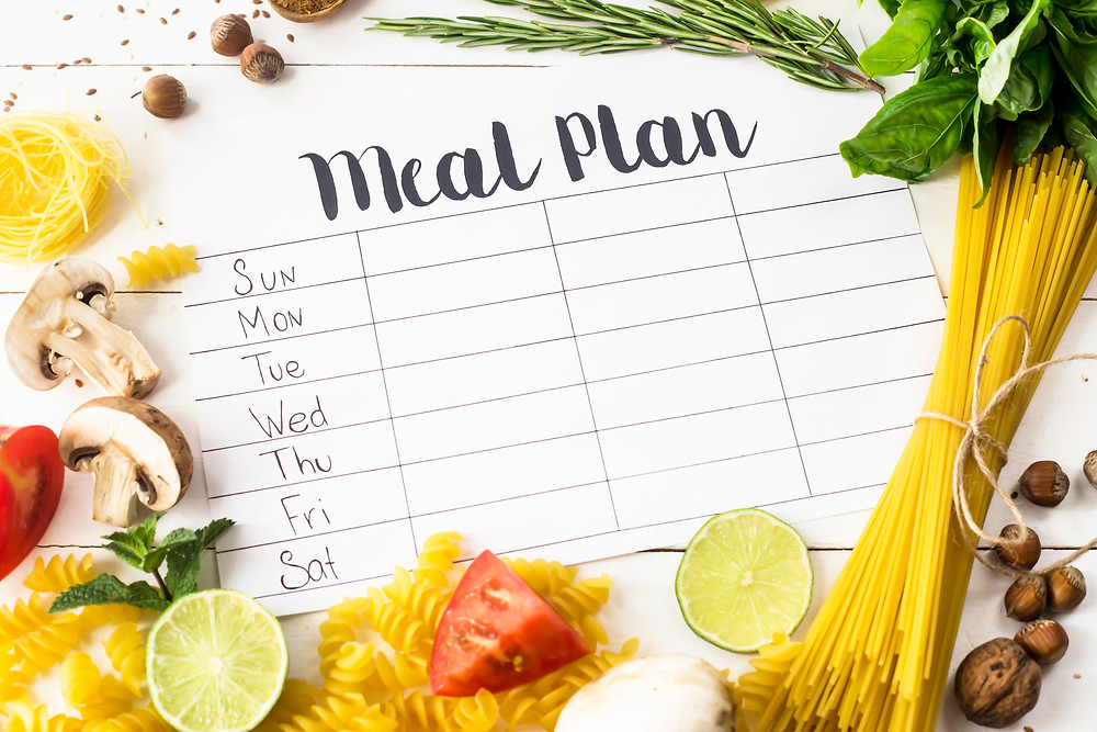 Meal planning sheet with the days of the week and space to plan meals
