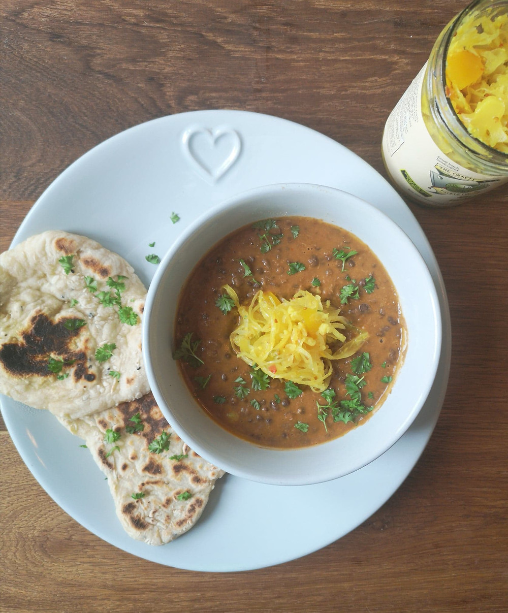 Black dal with Not Your Nana's Piccalilli Kraut and flatbreads