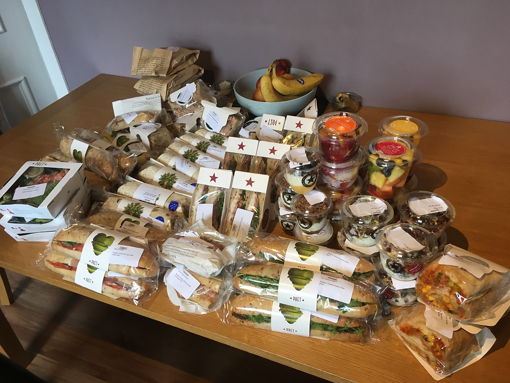 Sandwiches and food rescued from Pret a Manger via the food waste app Olio