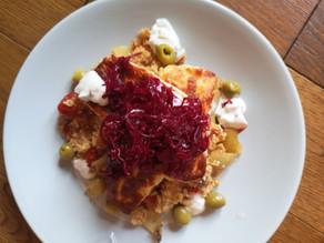 RECIPE: Roasted tomato quinoa with halloumi & Reclaimed Red Kraut