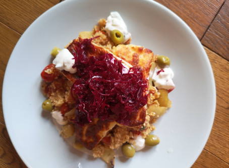 RECIPE: Roasted tomato quinoa with halloumi & Reclaimed Red Kraut