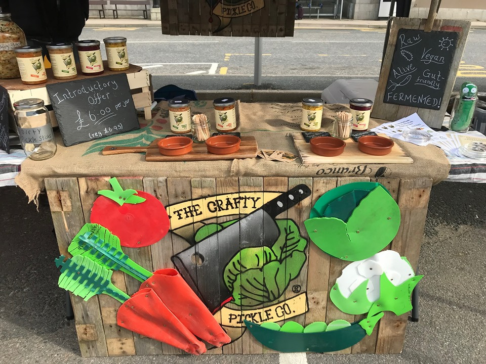 The Crafty Pickle Co. selling live fermented sauerkraut and kimchi at markets