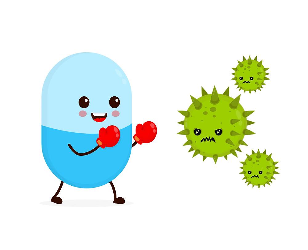 Antibiotics and probiotics fighting against bad bacteria in the gut