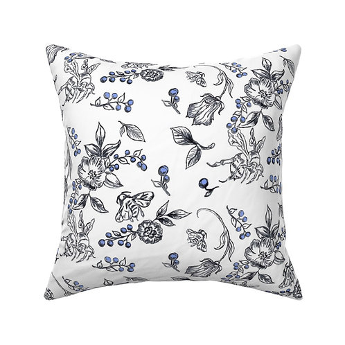 Bees- Black and White Throw Pillow with Blue berries