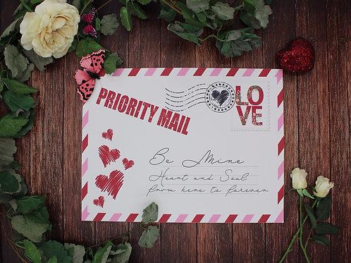 Love letter placemat - vegan leather Valentine decor