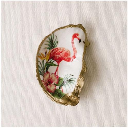 Pink Flamingo- Clam Shell Ring Holder/Salt Cellar