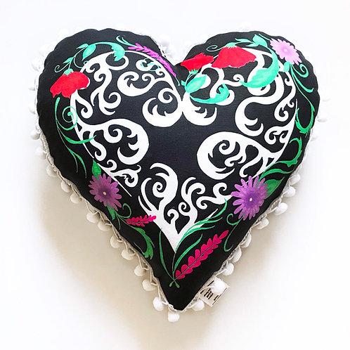 Black Valentines Heart Pillow- with pom pom edge