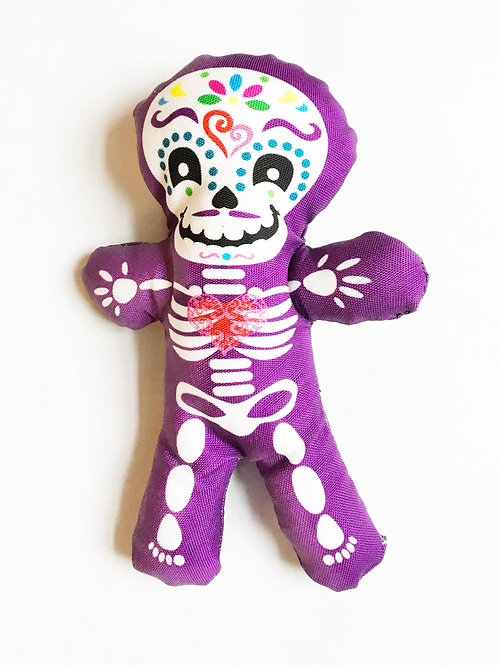 "Day of the Dead decor - Halloween 7"" skeleton fun individual Purple doll"