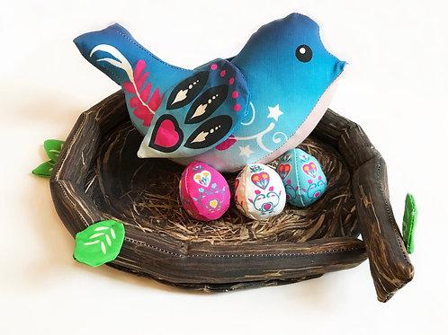 Blue Bird Nest and Eggs- Spring Time Lovie Play Bird