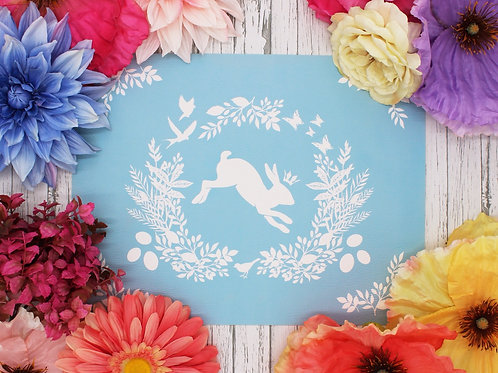 Spring is here Rabbit- Vegan Leather Placemat - Blue color