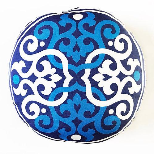 Boho Style Throw pillow- Blue and white