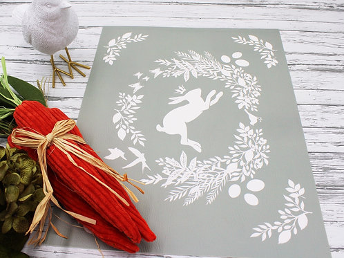 Spring is here Rabbit- Vegan Leather Placemat - Sage color