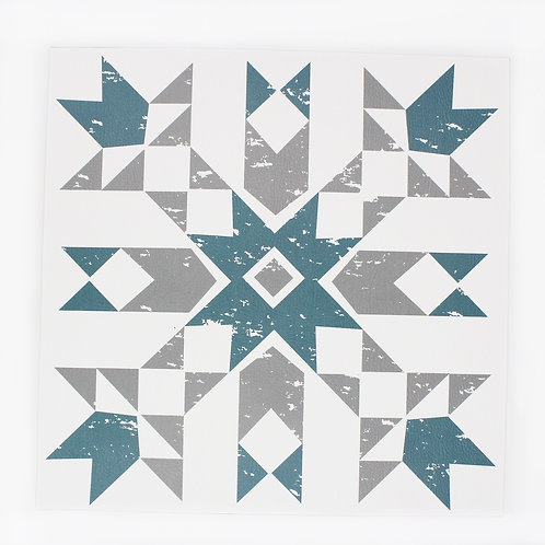 Primitive Snowflake placemat in Silver and Blue