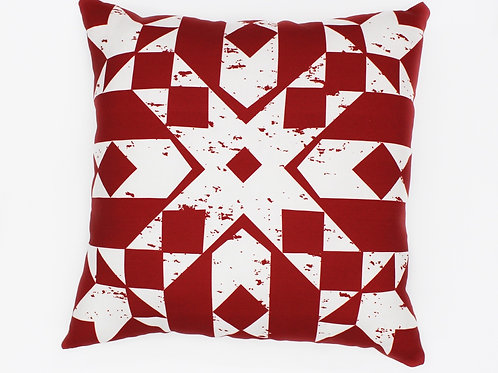 Primitive Snowflake Throw pillow - All Red