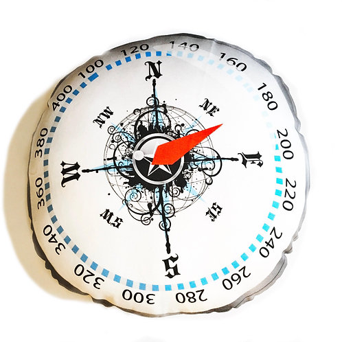 Compass pillow- Adventure Awaits Silver and Bronze