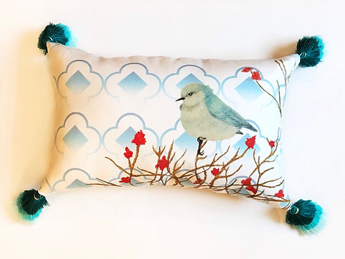 Blue Bird Red Flower small throw pillow tri colored ombre tassels