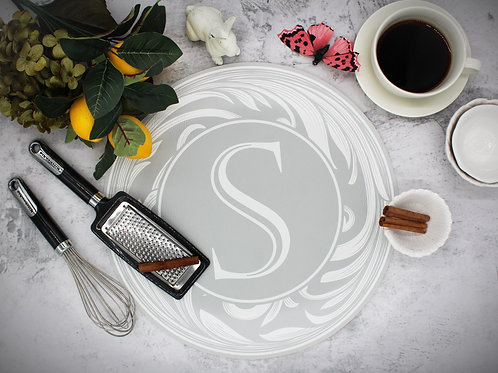 Monogram Vegan Leather Placemat- Light Gray and White