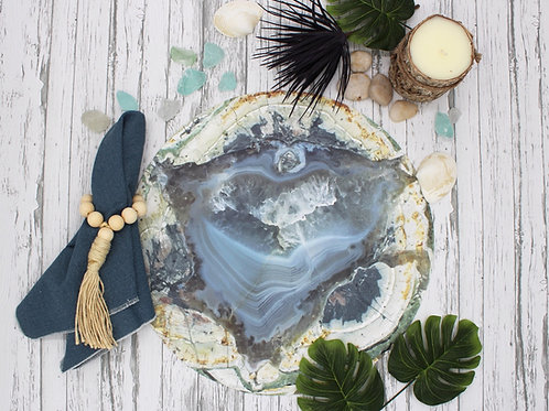 Agate Style Vegan Leather Placemat- Gray Blue