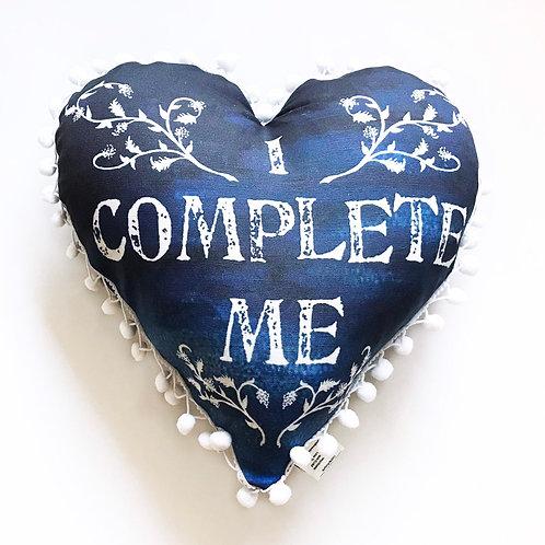 I Complete Me Heart Pillow- with pom pom edge