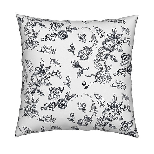 Bees- Black and White Throw Pillow