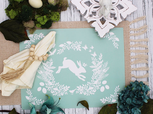 Spring is here Rabbit- Vegan Leather Placemat - Celadon color