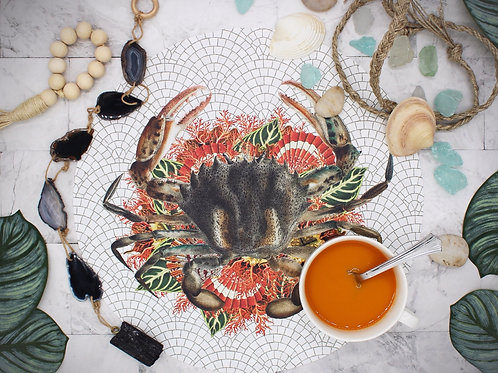 Mosaic Style Vegan Leather Placemat- Crab