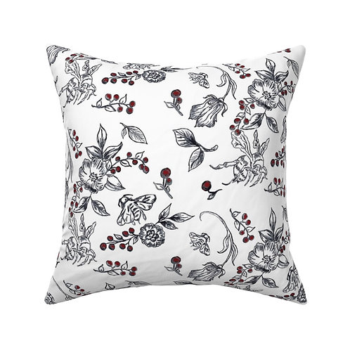 Bees- Black and White Throw Pillow with Red berries