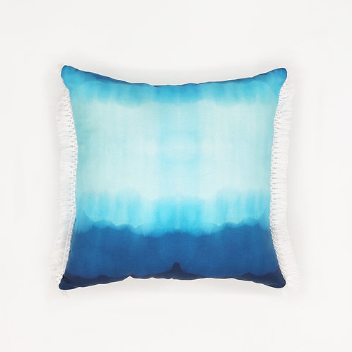 Blue Ombre Fringed Pillow