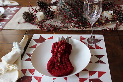Primitive Snowflake placemat in White