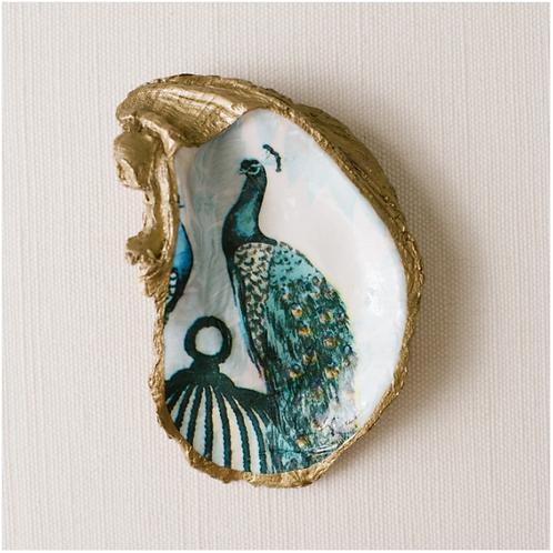 Peacock- Clam Shell Ring Holder/Salt Cellar