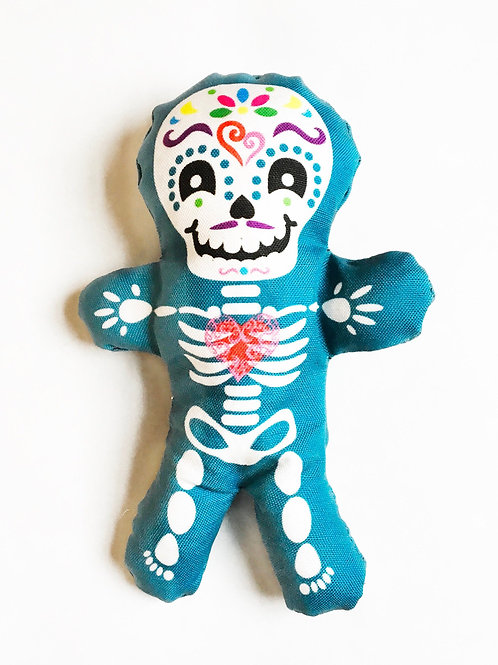 "Day of the Dead decor - Halloween 7"" skeleton fun individual blue doll"