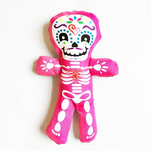 """Day of the Dead decor - Halloween 7"""" skeleton fun individual Pink doll"""
