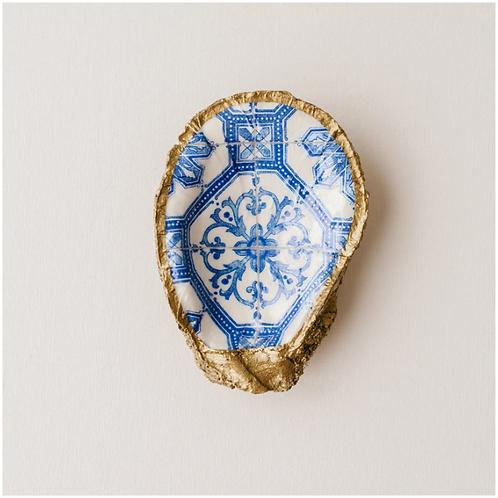 Mosaic Tile Blue- Clam Shell Ring Holder/Salt Cellar