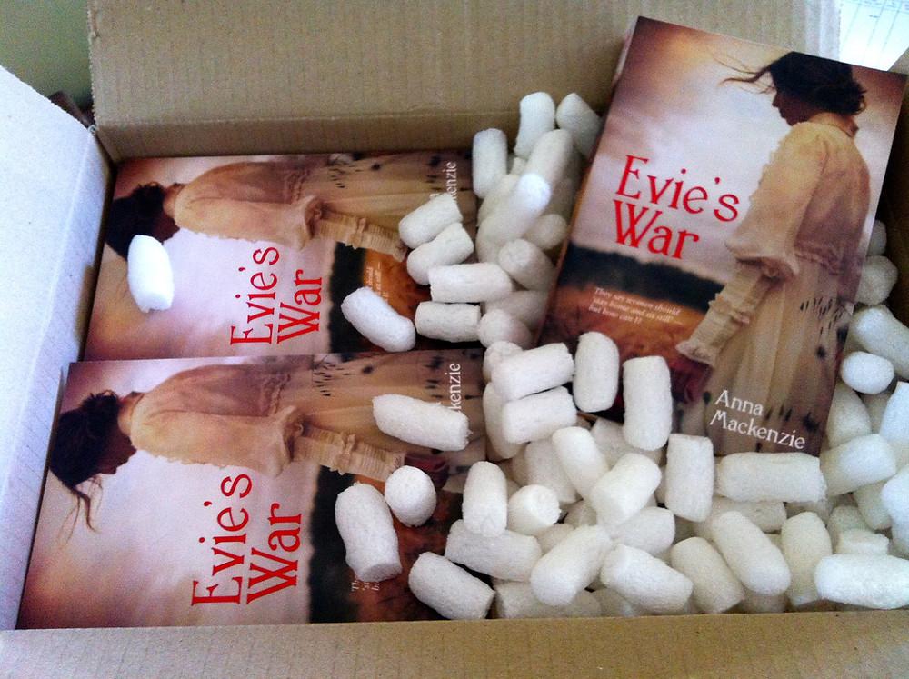 Advance copies of Evie's War: happy days