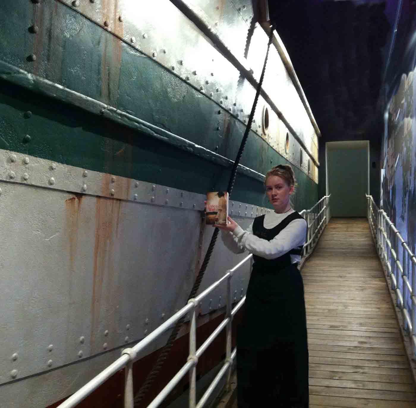 Evie boards ship,1914!