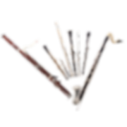 Woodwind instruments: bassoon, oboe, flute and clarinet