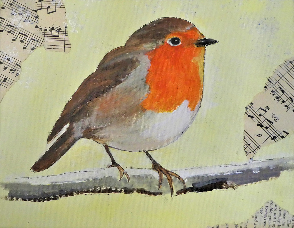 Rebreasted European Robin on a snowy branch facing right on a light yellow background with some faint snowflakes and collaged music score