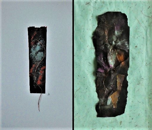 Abstract artworks by Audrey Bowling with copper wire threaded through and sew onto collaged surfaces