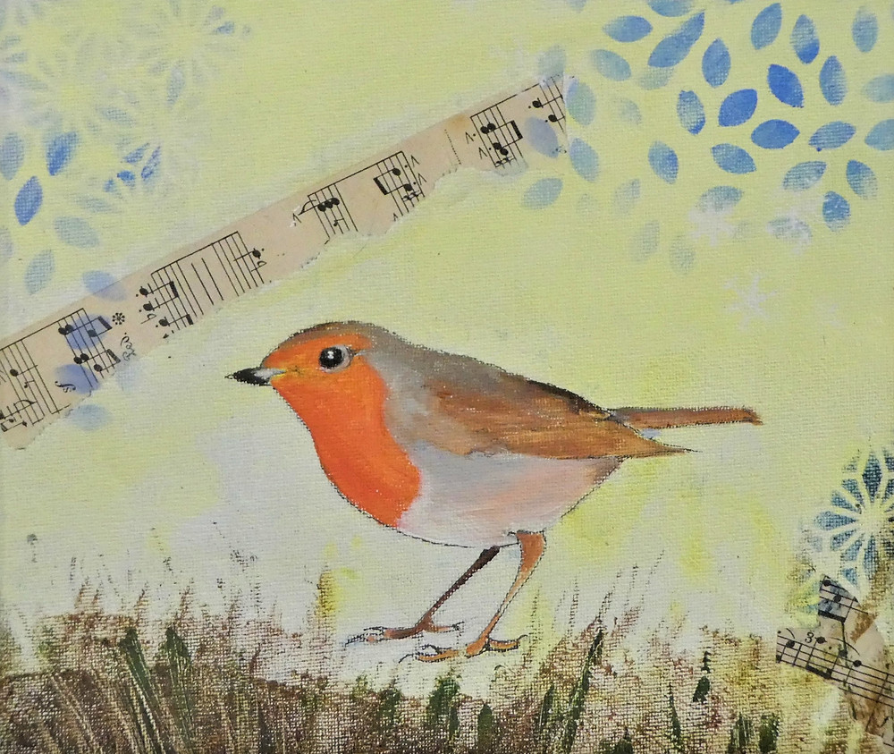 A redbreasted European Robin standing on grass looking to the left. Collaged pieces of music score and blue stencil shapes on a pale yellow background.