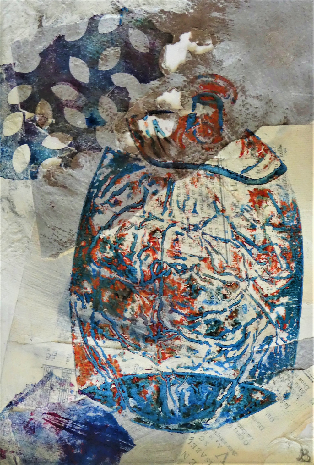 Trashed Can 2  mixed media artwork hand-pulled print with found objects including a can, a leaf, gauze and some papter