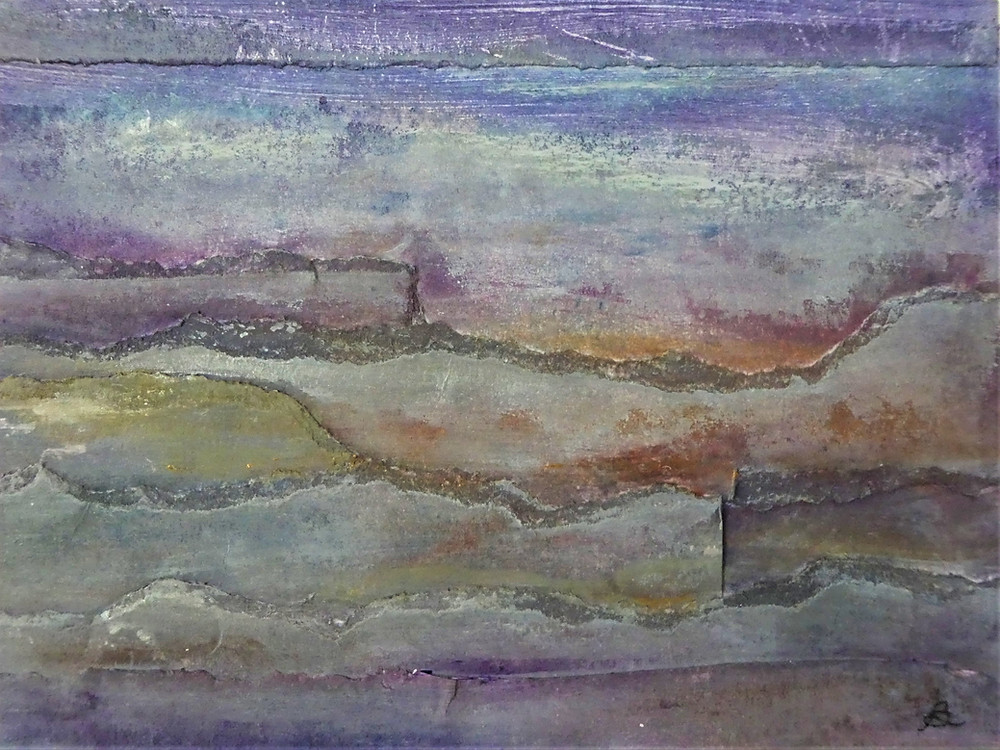 Collage, mixed-media artwork in shades of blue, lavender, gold and grey