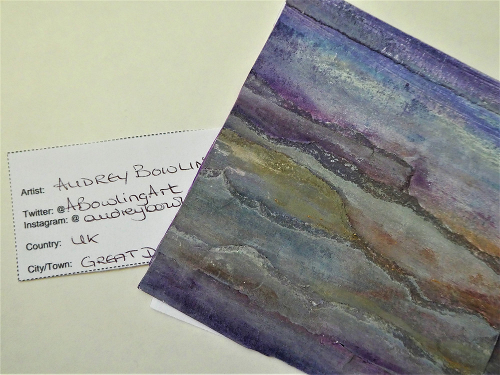 part of a postcard sized artwork by Audrey Bowling and accompanying label for #TAE21
