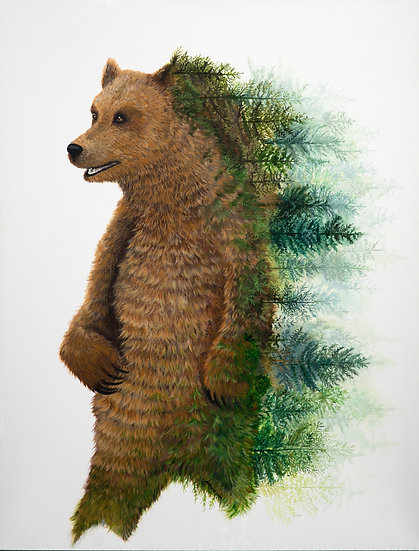 Grizzly Tree on Mounted Canvas