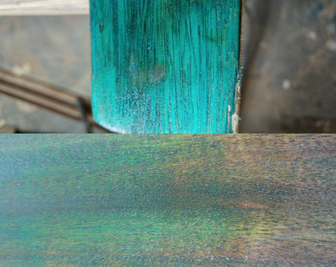 Wood dye swatch on mahogony