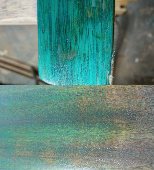 Wood dye swatch on mahogony