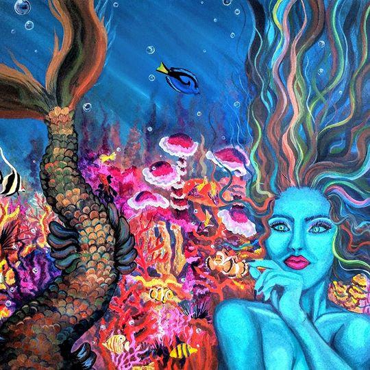 Mermaid on Mounted Canvas