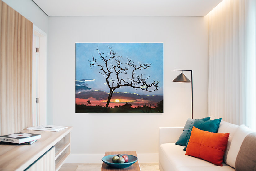 African Tree on Mounted Canvas